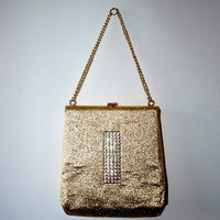 Gorgeous 60s gold purse / 60s bag. Vintage evening bag. Gold lurex and rhinestone.