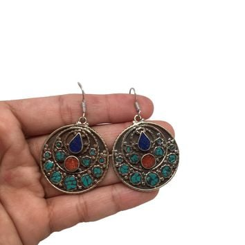 Vintage Nepalese Tribal Lapis, Red Coral & Green Turquoise Inlay Earring, NPE30