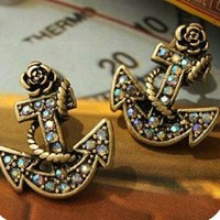 Vintage Anchor Rhinestone Earrings by forevervintage on Zibbet