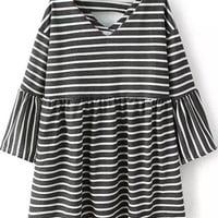 Grey V Neck Striped Half Sleeve Pleated Blouse