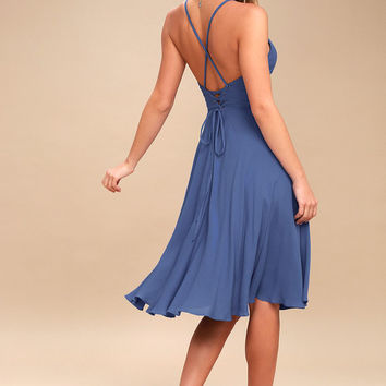 Troulos Denim Blue Lace-Up Midi Dress