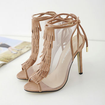 Sandals unique women Lace up heels fringe women shoes Sexy Pumps fashion Cut-out net Hollow chaussure femme talon Womens sandals