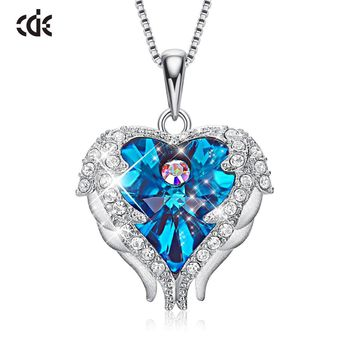 CDE S925 Sterling Silver Crystals from Swarovski Necklaces Fashion Jewelry For Women Pendant Heart Of Angel Christmas Gifts
