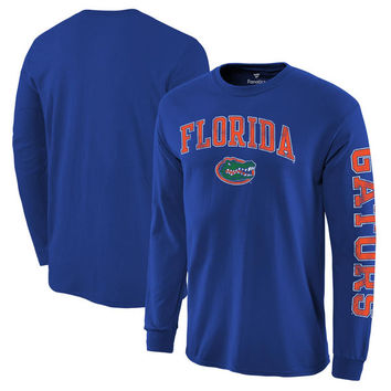Men's Fanatics Branded Royal Florida Gators Distressed Arch Over Logo Long Sleeve Hit T-Shirt