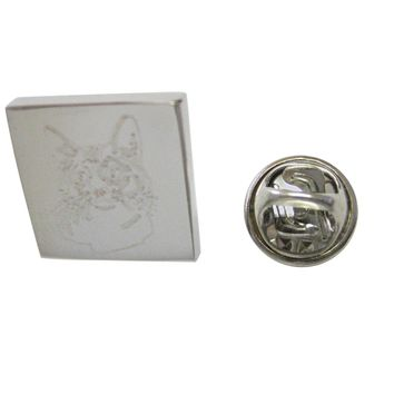Silver Toned Etched Cat Head Lapel Pin