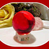 """""""Vitality & Passion"""" Red Quartz Crystal Ball & Stand"""