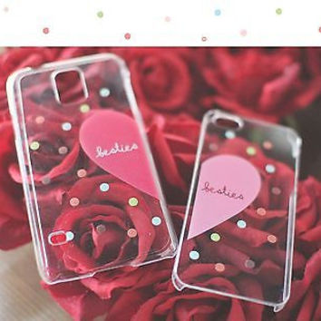 Besties Matching Clear Phone Case Set for BFF - iphone 4 5 5C Galaxy S3 S4 S5