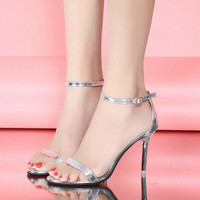 tndnw lady Summer high-heeled sandals shoes high heel thin female sexy toe buckle sandals Strappy shoes party wedding sexy shoes