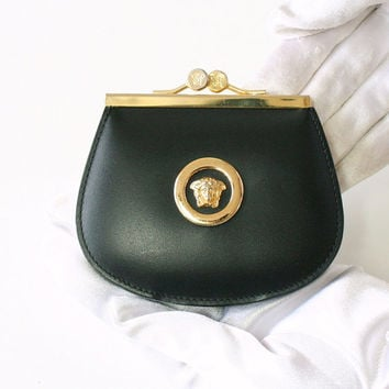Gianni Versace Purse Leather Golden Coin Pocket Handbag Authentic