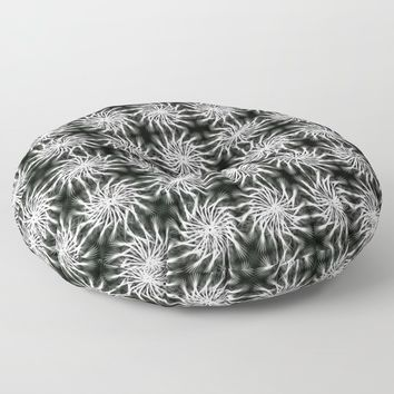 Abstract Silver, Spinning Stars Pattern - regular theme, geometric repeated tiles Floor Pillow by hmdesignspl