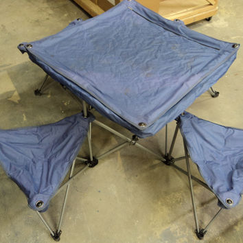 Northpole Fold Out Camping Table 4 Chairs 50in L x 50in W x 24in H Purple -- Used