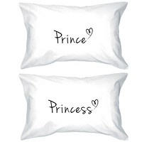 Prince and Princess Pillow Covers 300T Count Matching Couple Pillowcases