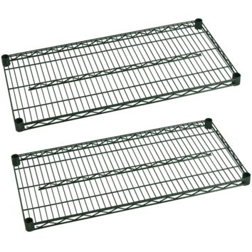 "Commercial Heavy Duty Walk-In Box Green Epoxy Wire Shelves 24"" x 72"" (Pack of 2)"