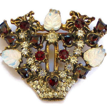 Flower Basket Brooch, Garnet, Clear, and Moon Glow Rhinestones in Gold Tone