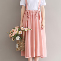 WILD CHIFFON HALF SKIRT IN THE LONG PARAGRAPH A WORD PINK DRESS