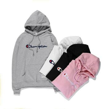 ONETOW Champion Hooded Women Men Embroidery Top Sweater Hoodie