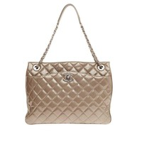 Chanel Zip Trio Tote Quilted Patent