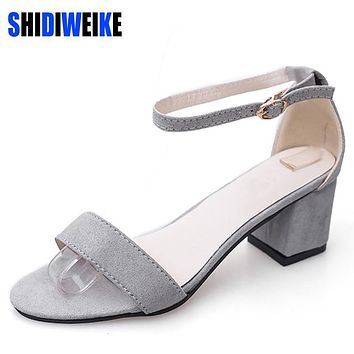 SHIDIWEIKE Ltarta Summer Women Sandals Open Toe Flip Flops Women's Sandles Thick Heel Women Shoes Korean Style Gladiator Shoes