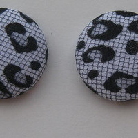 Mesh and Leopard Print Earrings