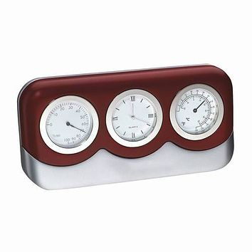 Personalized Free Cherry Wood Finish Desk Weather Thermometer Hygrometer Clock