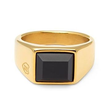 Men's Gold Squared Signet Ring with Onyx