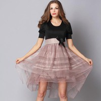 Bqueen Puff Sleeve Bow Bon Bon Dress Pink RM31P - Designer Shoes|Bqueenshoes.com