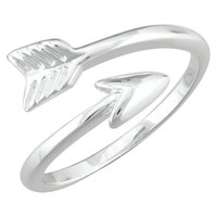 Silver Plated Bypass Arrow Ring - Size 6