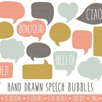 Speech Bubbles Clip Art. Hand Drawn Speech Bubbles. Thought Bubble Illustrations.  Digital Doodle Art Graphics.  Mustard, Coral and Mint.