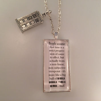 Exclusive Doctor Who TARDIS Charmed Interpreted Quote Necklace, TARDIS Jewelry, Wibbly Wobbly... Time-y Wimey Pendant