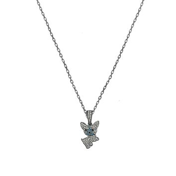 0.57tcw Diamonds in 925Sterling  Silver Yorkie Puppy Dog Pendant Necklace