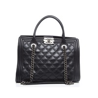Pre-Owned Chanel Lambskin Boy Shopping Tote Bag