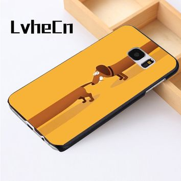 LvheCn phone case cover For Samsung Galaxy S3 S4 S5 mini S6 S7 S8 edge plus Note2 3 4 5 7 8 Dachshund Wiener Dog Chasing Tail
