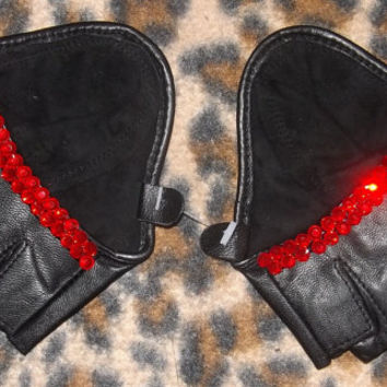 Siam Red Diamonds Sparkly Crystal Trim Black Leather Biker Gloves
