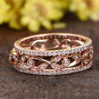 Diamond Wedding Sets 14K Rose Gold Anniversary Ring Art Deco Retro Vintage Flower Stacking Band