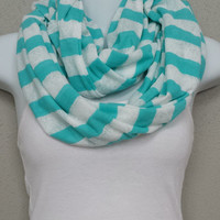 Turquoise White Scarf Lace Striped Soft Infinity Scarf Cowl Eternity Loop Fashion Scarf Trendy Scarf Soft Infinity Scarves