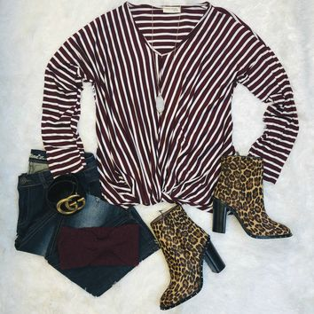 Knot Today Striped Long Sleeve Top: Burgundy