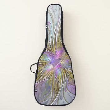 Floral Colorful Abstract Fractal With Pink & Gold Guitar Case