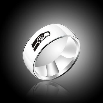 Fashion Band Titanium Steel Ring Seattle Seahawk Logo Stainless Steel Super Sports Fans Gift Championship Rings for men women