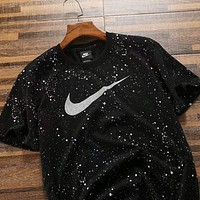 2018 Nike Summer Women Men Breathable Absorb Sweat Sport Short Sleeve T-Shirt Top Black I-ZDL-STPFYF