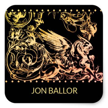 Mythical Griffin Lion Eagle Beast Square Sticker