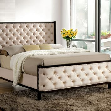 Truvie Contemporary Button Tufted Fabric Eastern-King Bed in Espresso