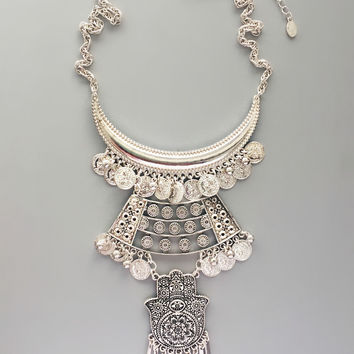 Ancient Hamsa Silver Statement Necklace