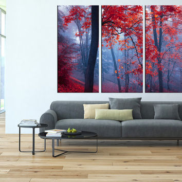 Autumn forest canvas wall art, forest canvas print, large wall art canvas print, extra large wall art, tree wall art canvas print t38
