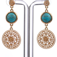 Sun Goddess Earrings, Gold/Turquoise