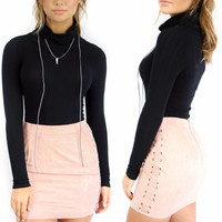 Sydney Dusty Pink Faux Suede Skirt