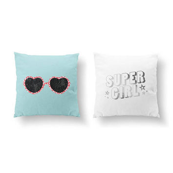 SET of 2 Pillows, Teen Girl Room, Super Girl Pillow, Gold Pillow, Eye Glasses Pillow, Bed Pillow, Retro Art, Throw Pillow, Cushion Cover