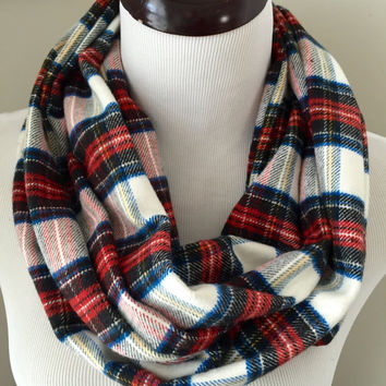 Cream and Red Tartan Plaid Infinity Scarf