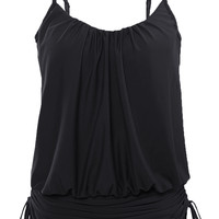 Women Black Spaghetti Strap Tankini Swimwear Tops