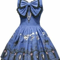 Sleeveless Cotton Navy Lolita Dress Medieval Renai