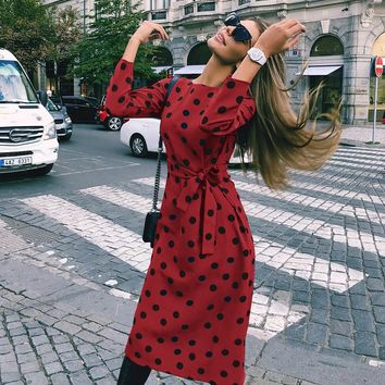 Elegant long sleeve belt women dresses Polka dot o neck bodycon midi dress Summer pockets casual dress vestidos
